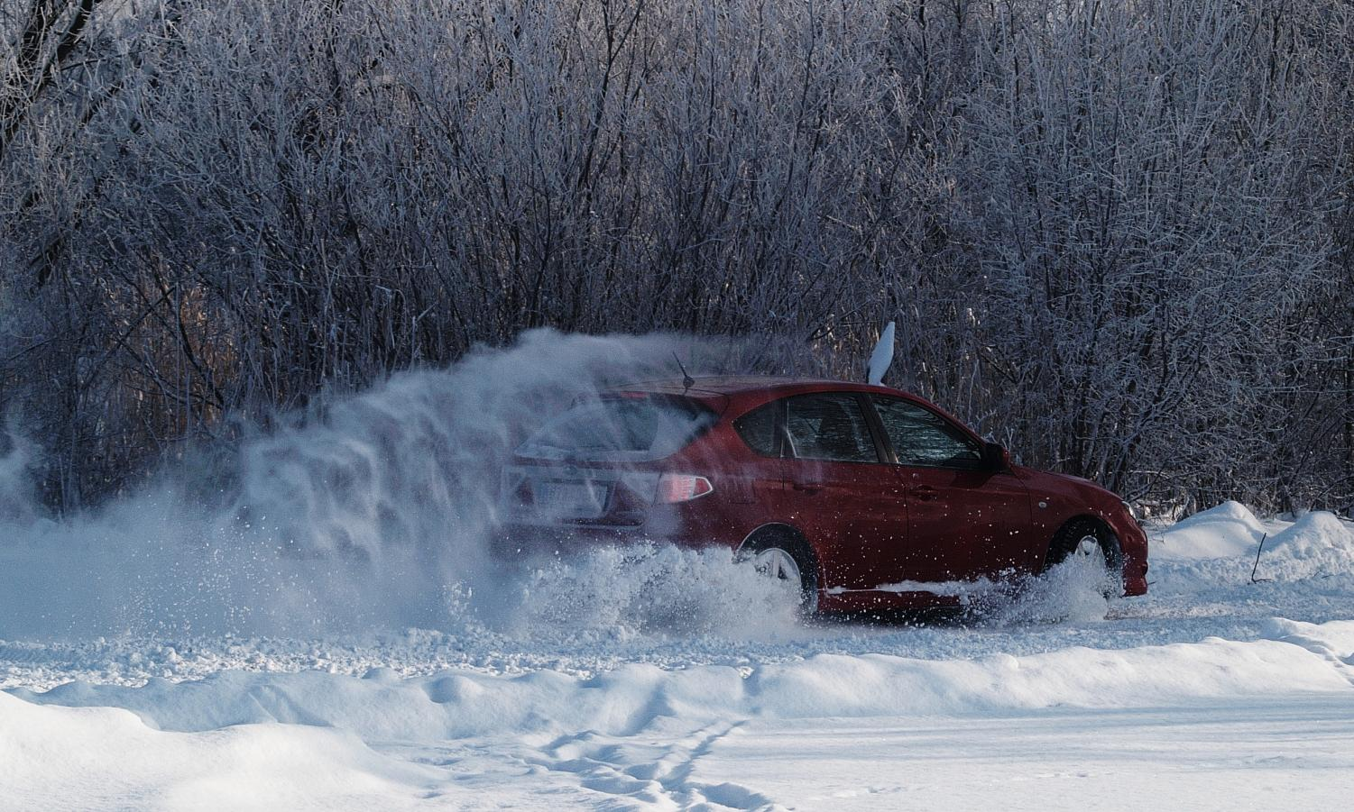 Cars can often swerve and off road when coming upon ice or snow, as pictured above.
