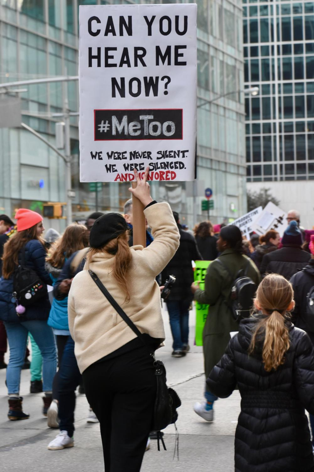 Women join to protest sexual violence in the #metoo movement. These woman have stood up for themselves and each other these past weeks.