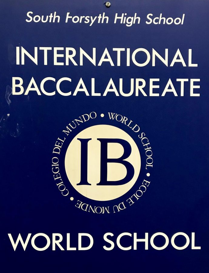 The+International+Baccalaureate+Program+has+two+different+pathways%2C+DP+and+CP%2C+which+it+offers+to+students+who+wish+to+pursue+rigorous+course+work.+Mr.+Denney+keeps+this+IB+placard+in+his+office.+