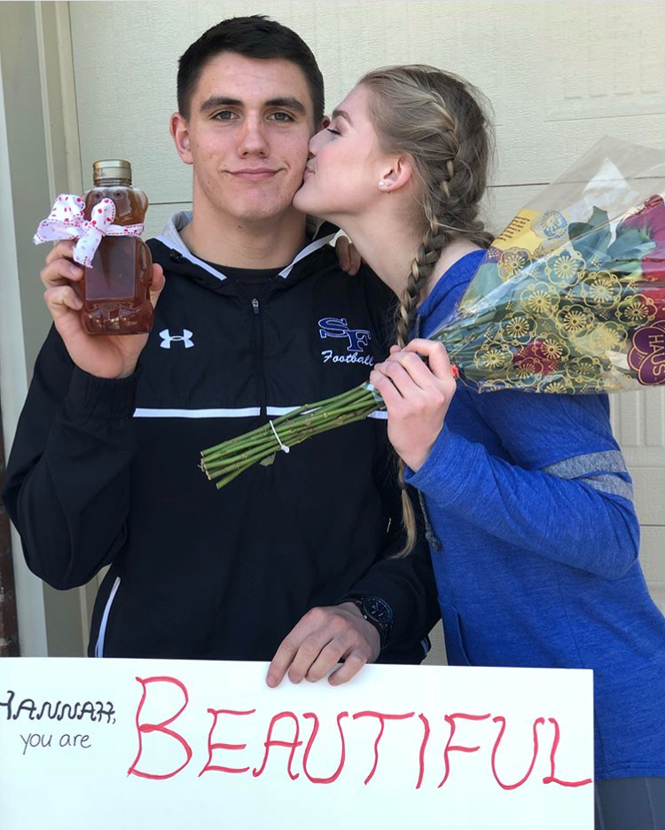 Jared Honey poses for a picture with his date to prom, Hannah Hausler. He asked her on her birthday, which made the day extra special to remember. The two have been dating for a year and are excited to go to prom together for the second time.