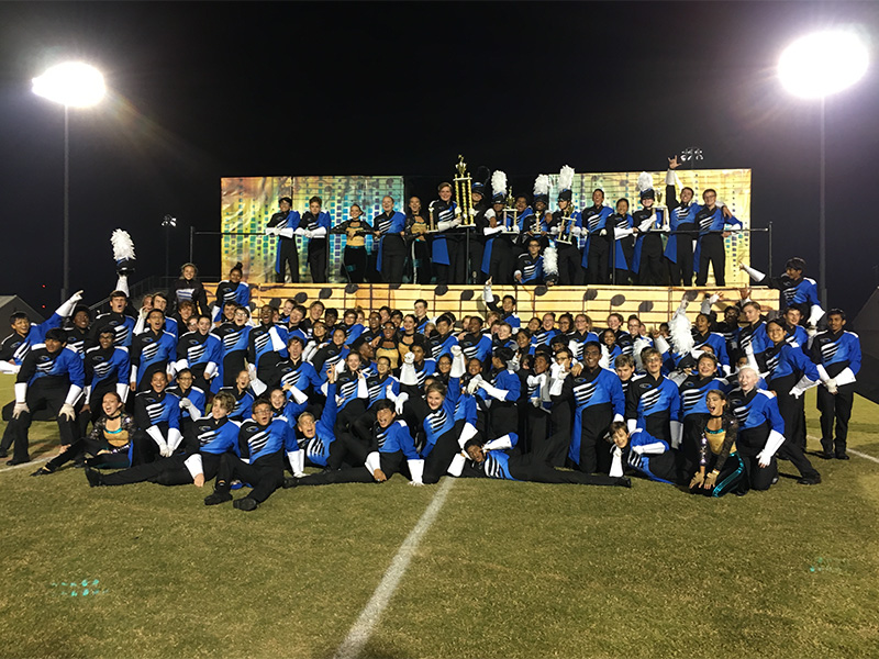 October 21,  2017 - The  South Forsyth Marching Band gathers for a victory photo as the new champions of the Greater Atlanta Marching Festival.  Photo used with permission of Stephen Hendricks and Dixon Pendergrass.