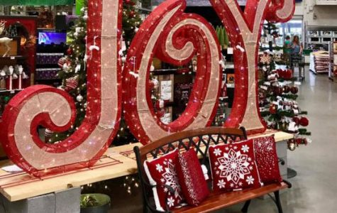 A Christmas display at Lowe's inserts itself in the midst of the Halloween season.