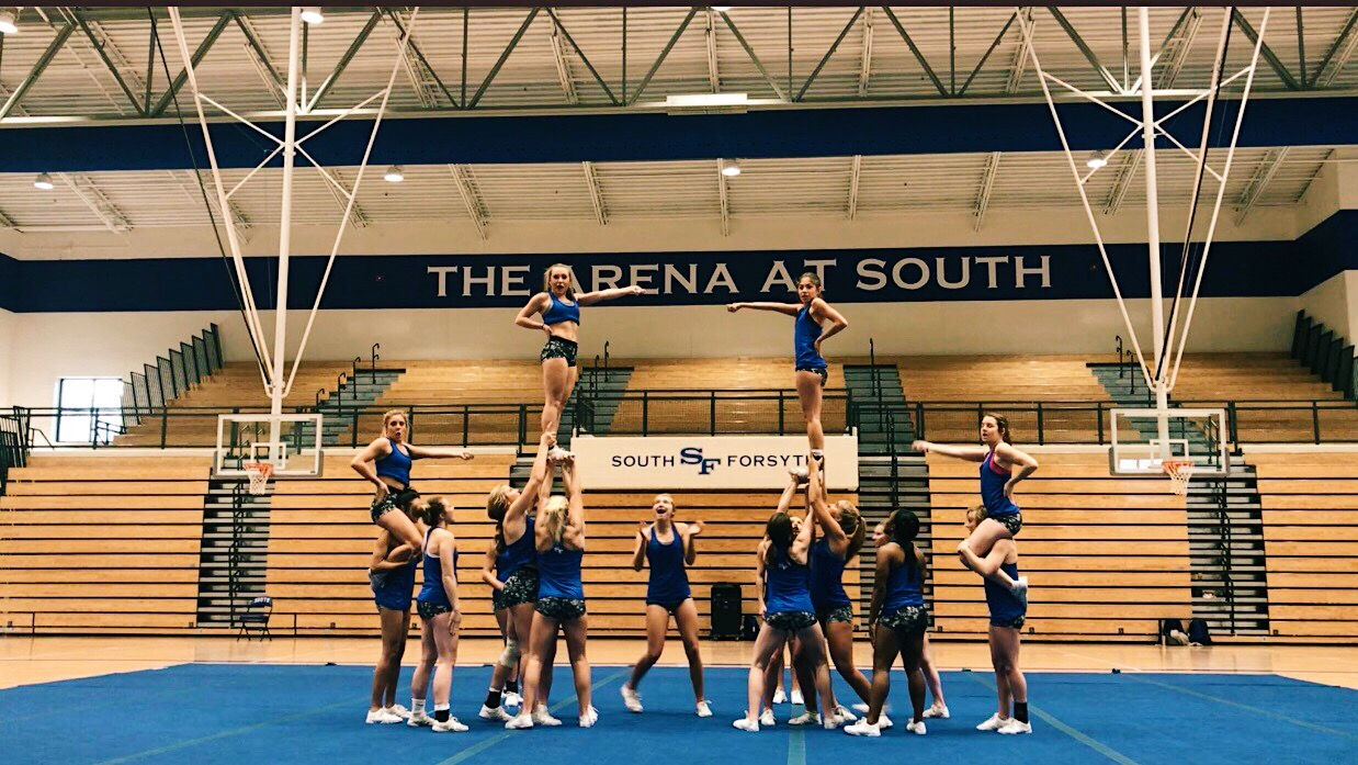 South Cheerleaders practicing in the Arena.