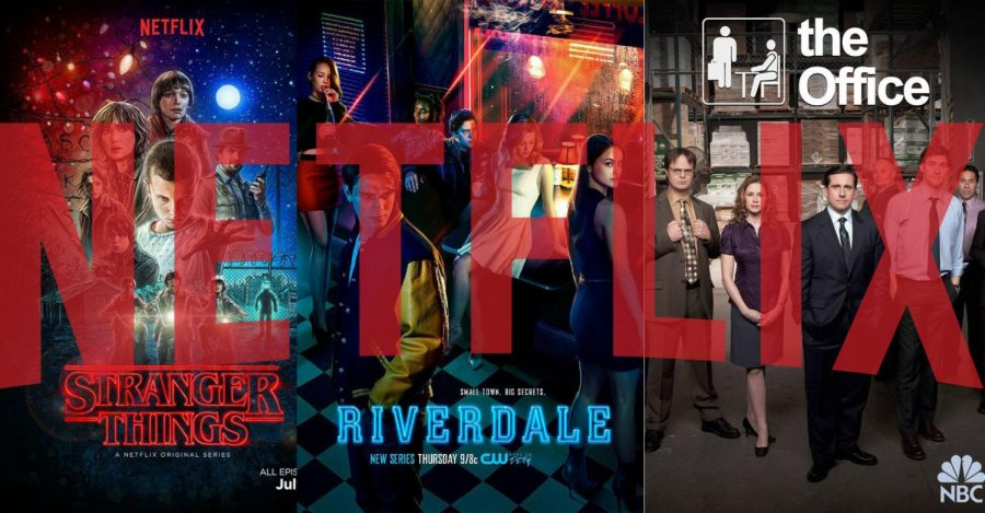 Image featuring the covers of Tv shows: The Office, Riverdale, and Stranger Things. All of these shows are available on Netflix.