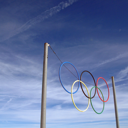 These are the Olympic rings that stand at the site of the 1960 Winter Olympics in Squaw Valley, United States.