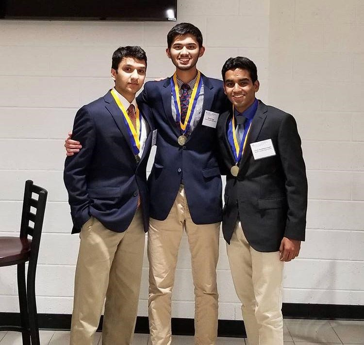Seniors Om Purohit, Rohan Rege, and Vinay Balamourougan all placed in the FBLA RLC Competition. All three participants will advance to the State Competition.