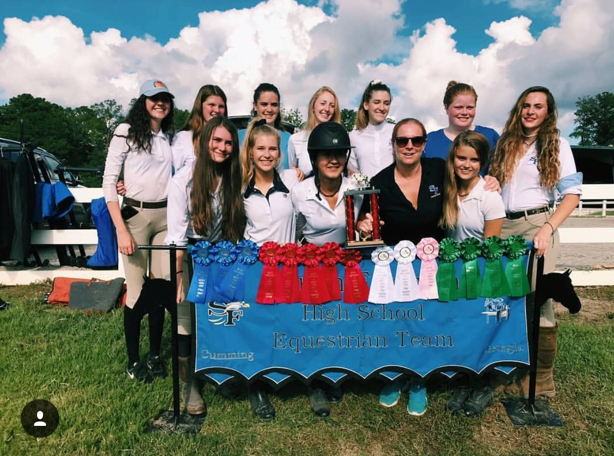 Second place. Coaches help the lesser experienced riders with what skills they need to practice on up until the competition. On September 30th, the Equestrian team placed Reserve Champion out of 10 teams for their first of five seasons.