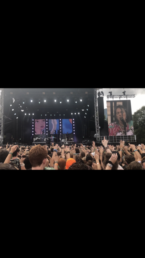 Billie Eilish performing live at the festival Music Midtown in Atlanta, Georgia with over 40,000 people gathered to watch.