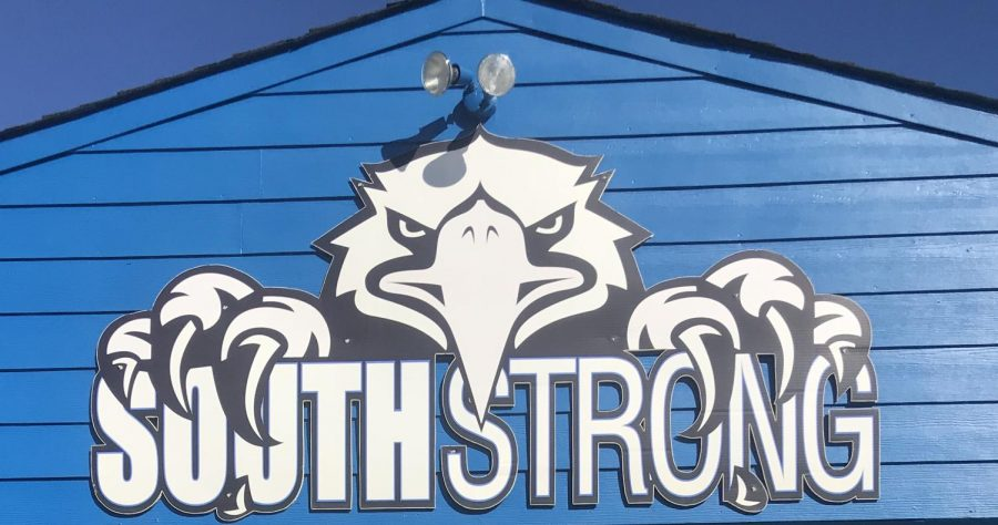 South+Strong.+Near+War+Eagle+Stadium+a+sign+encourages+school+spirt.+A+sense+of+pride+sets+over+the+students+of+South+Forsyth+every+time+they+walk+by+the+sign+during+home+games.+