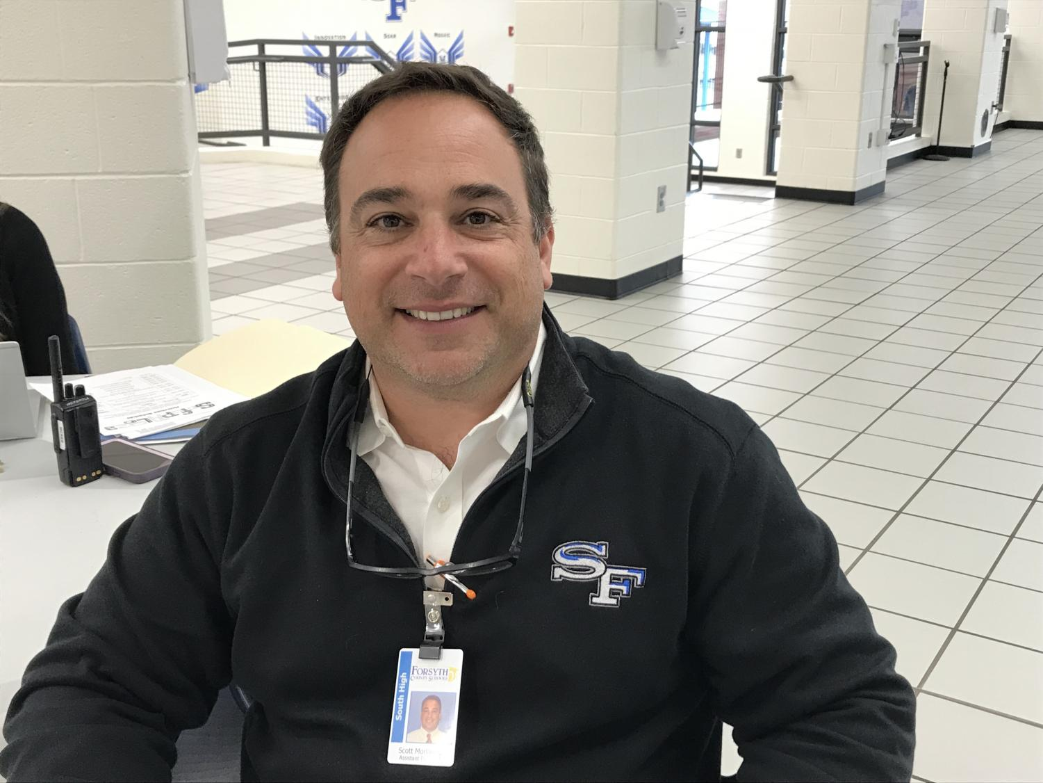 Reflecting on school safety. Mr. Morlanne is the Assistant Principal at South, and is also in charge of school safety plans. He takes his school safety jobs seriously in order to keep students in a safe environment.
