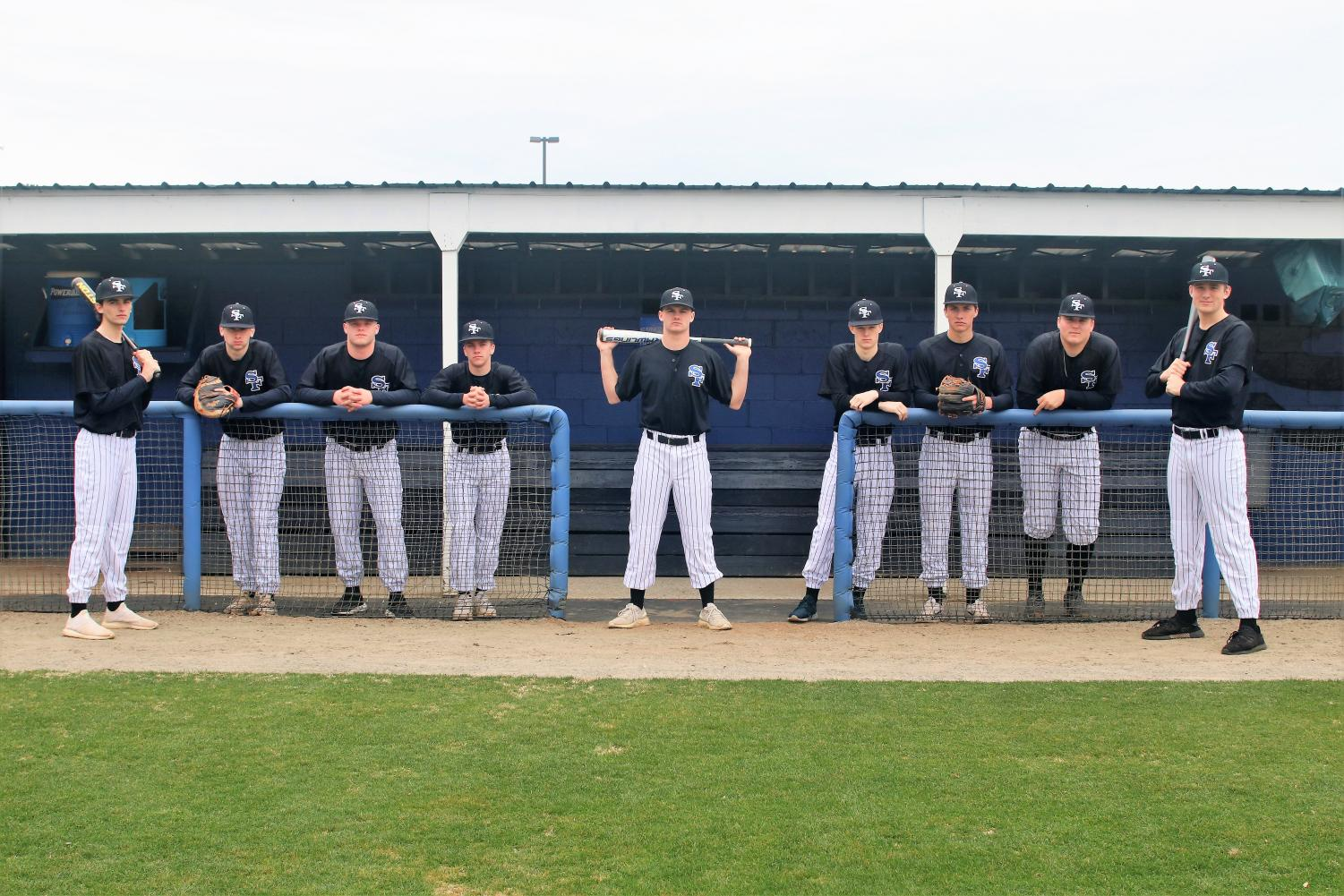 Lining up to bat. South's boy's baseball team is preparing for a new season by fundraising and hitting the field for practice. Players left to right: Peyton Presley, Colby Wheeler, Landon Sims, Jake Witterman, Dylan Mazzei, Cameron Fox, Cole Kliphouse, Tyler Cowan, Steven Thompson.
