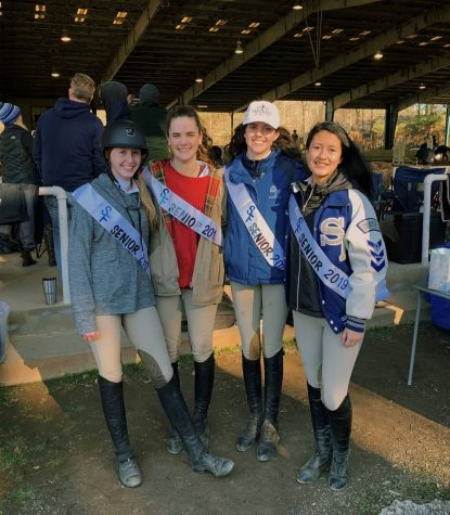 Bearing sashes after victory. From left to right: Hannah Gannon, Emilee Spicer, Cate DeCastro, Alejandra Pena celebrate after the Zone 4 finals. Excluding Hannah Gannon, the other equestrian girls are captains of the equestrian team, with Emilee Spicer as the junior varsity captain.