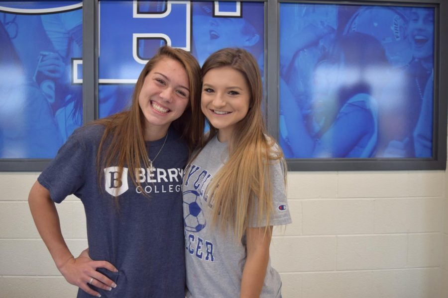 Together forever. Maria and Lyndsey enjoy the signing ceremony to officiate their decision to attend Berry College. Both players cannot wait to take part in a new journey of their life, together.