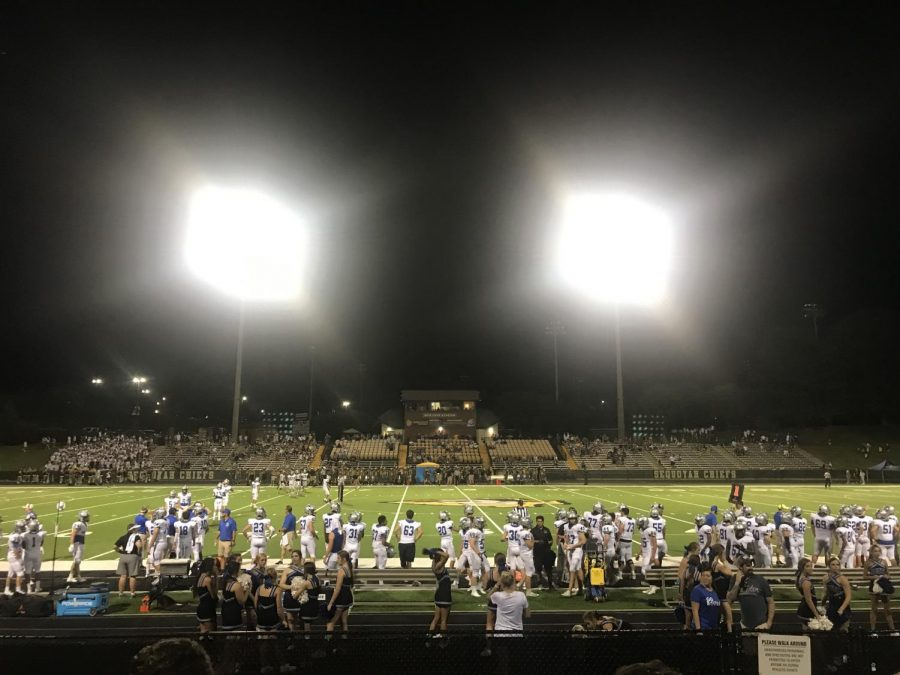 Friday+Night+Lights.+After+a+day+bringing+back+the+old+souls%2C+South+students+gathered+together+to+support+and+watch+their+very+own+football+team+begin+their+season+with+a+scrimmage+against+Sequoyah.+The+day+was+memorable%2C+full+of+excitement%2C+and+packed+with+school+spirit.