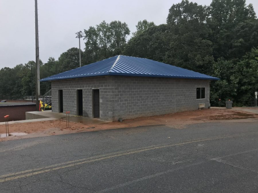 Concessions at the field. CBI Contractors have been diligently working since May to complete three major construction projects on campus. The one pictured above is a new facility near the baseball field.