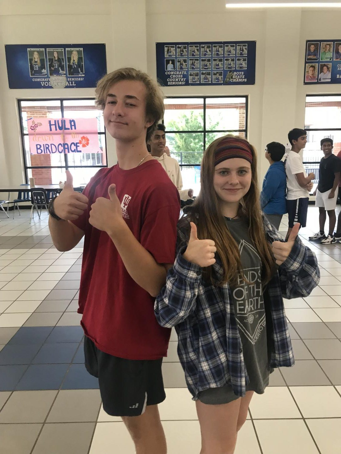 Getting to know your peers. The students pictured (Adam Strandquist, Susanna Yonk) greeted each other before they played a round of 'Gun, Man, Gorilla.'  This game was meant to ease the air for students, and help FBLA members get to know each other while having some fun.