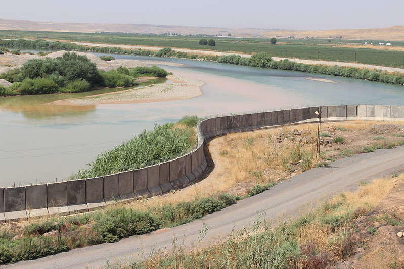 Dangerous borders. This capture embodies the serene and placid Tigris river by the Eastern side of the Turkey-Syrian border. However, these countries' borders are highly unsafe and risky to be around since there are constant attacks and activity between Kurdish rebel groups and Turkey.