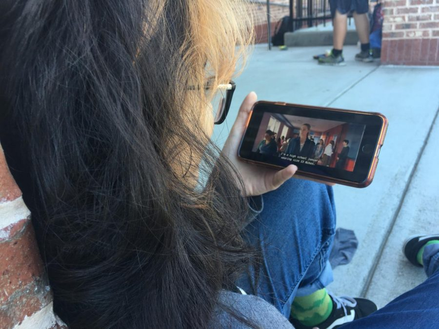 Netflix at South. Freshman Aribah Tely enjoys her lunch while watching the new Netflix film, Tall Girl. The movie entertains its adolescent audience, but its content is known to be controversial.