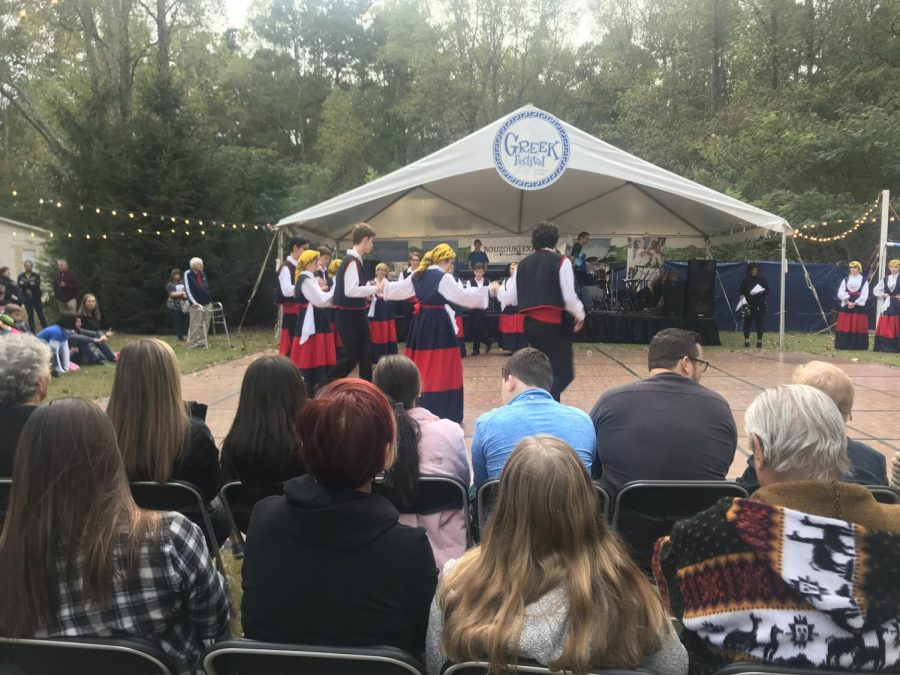 Dancing the Zorba. At the Greek festival, the Nicholas and Irene Greek Dance Troupe entertained guests with traditional Greek dances. Greek music also accompanied their dance.