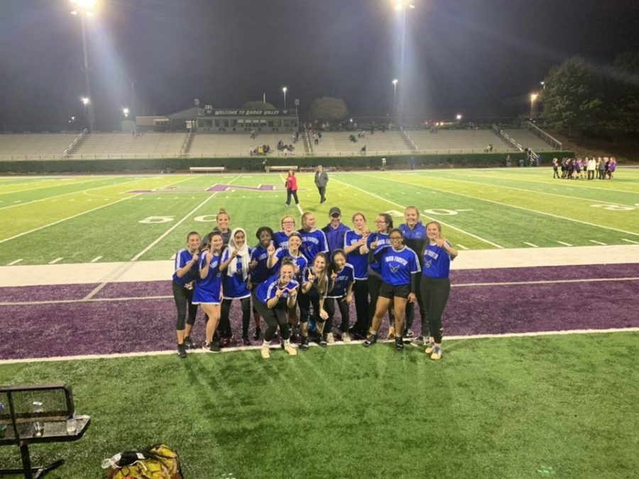 The lady war eagle's flag football team poses after their win against North Forsyth; 8-2. Each and every girl has been working hard from 4:00- 5:30 after school to prepare for the season ahead. The game was on Thursday night at North Forsyth High School where South's football team also faced the Raiders Friday night.