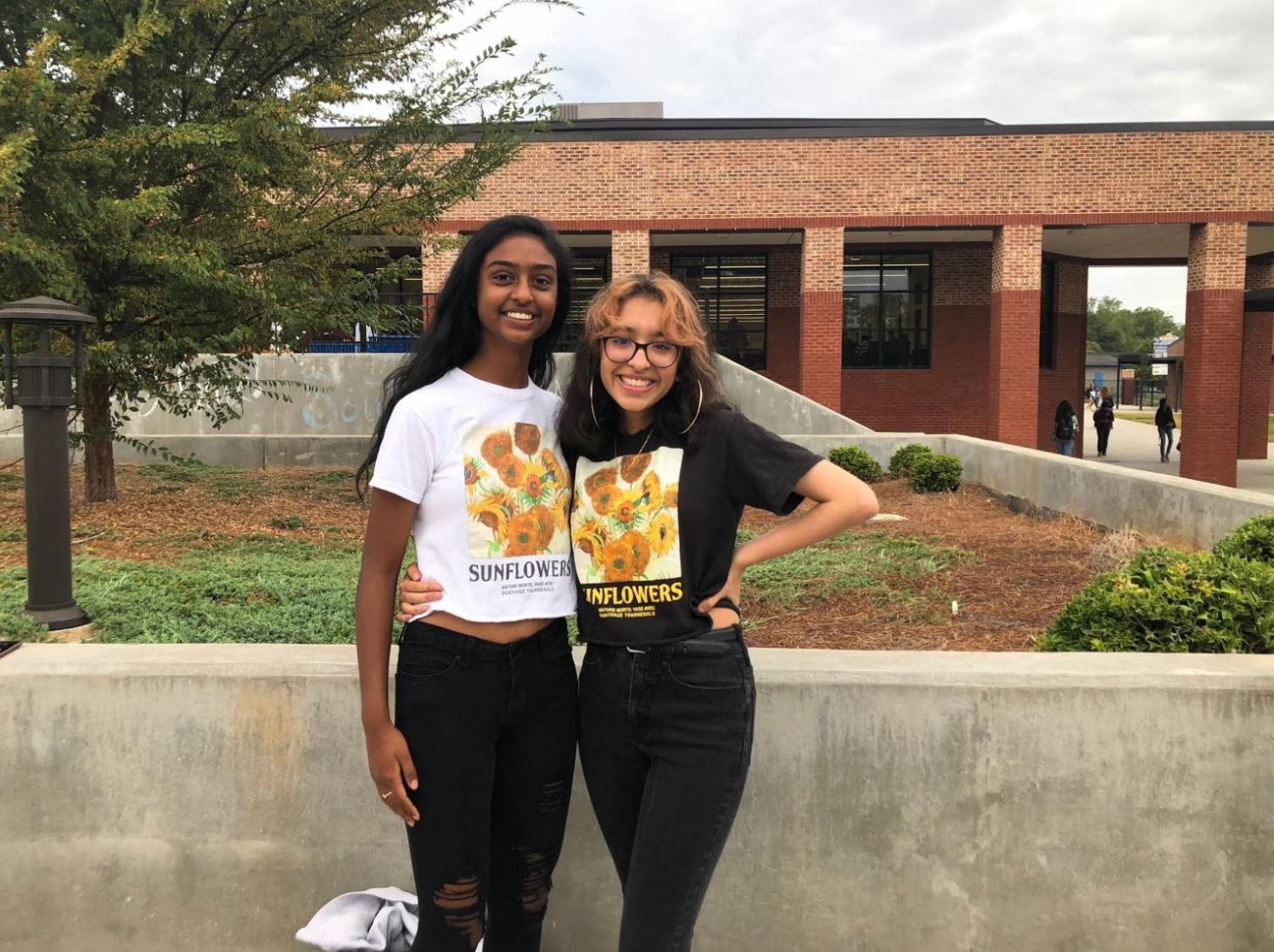 Pictured above (left to right) are freshman Pragna Veeravelli and Aribah Tely. Shining sunflowers. These best friends wear the matching sunflower shirts for Twin Tuesday.