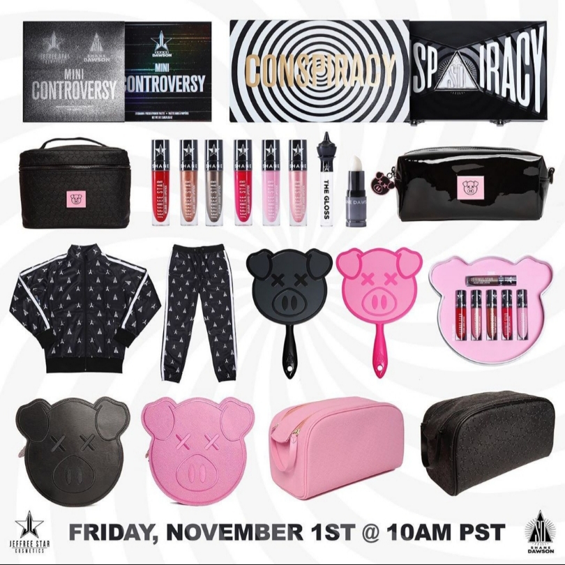 The+entire+Conspiracy+Collection.+This+is+an+image+posted+on+Instagram+by+Jeffree+Star+of+the+Shane+X+Jeffree+Conspiracy+Collection.+A+lot+of+hard+work+was+put+into+this+collection+and+everyone+on+the+production+team+was+very+pleased+with+the+final+product+and+the+support+they+received+from+Dawson+and+Star%27s+fans.+%22The+Conspiracy+Collection+has+broken+the+internet+and+I%27m+in+a+state+of+shock+and+gratefulness+right+now.%22+