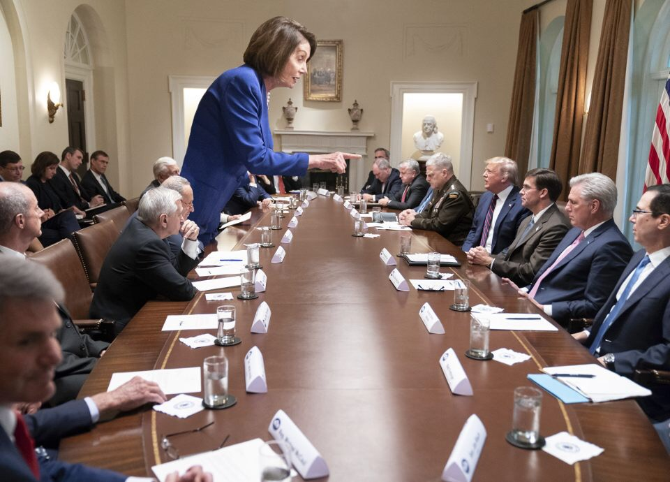 Nancy Pelosi stands up against Trump during an office meeting. Pelosi leads the charge against Trump. The debate is over the Ukraine scandal.