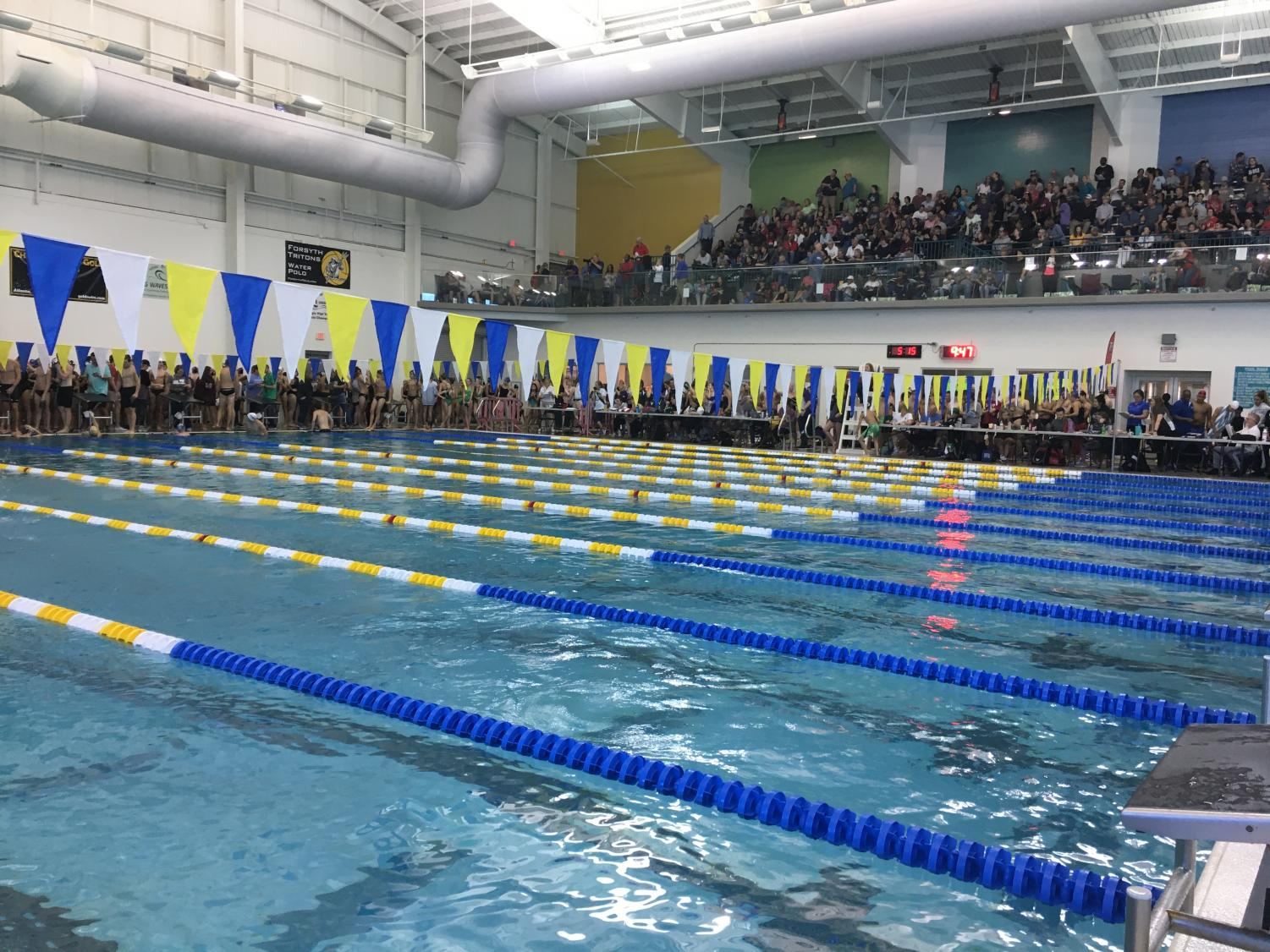 Moving waters. South Forsyth swimmers swiftly swam to the wall earning many state qualifying cuts. The meet prepares incoming swimmers for the competitive atmosphere of swim and dive.