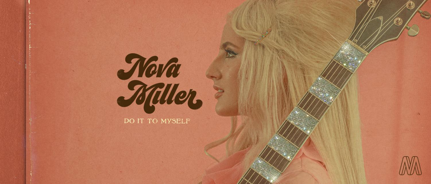 Cover art for single. Nova Miller poses with her guitar in front of a pink background for her single