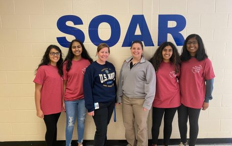 Pictured (left to right) are Siya Kumar, Krithika Kasireddy, Ms. Rachel Collins, Ms. Jennifer Clendenen, Aasha Kodukula, and Minakshi Shivananda. The leaders of tomorrow. Four sophomores at South Forsyth High School, along with their HOSA advisers, partnered with a local Medical Reserve Corps organization to give back to the community. By creating different events that support their passion, these students impacted and learned a lot from their community.