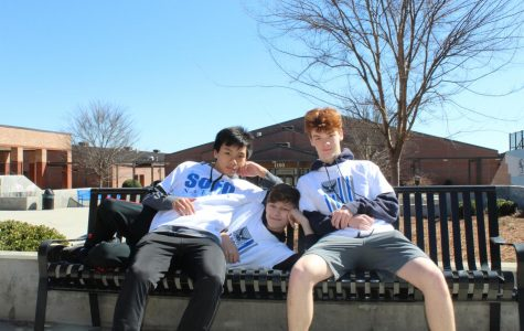 Sofopalooza shenanigans. Rising freshmen Matt Craig, Caleb Singh, and Tamsen Hayden relax on a bench in the plaza after a long day filled with smiles and laughter. They cannot wait to become a South Forsyth War Eagle in the 2020-2021 school year.