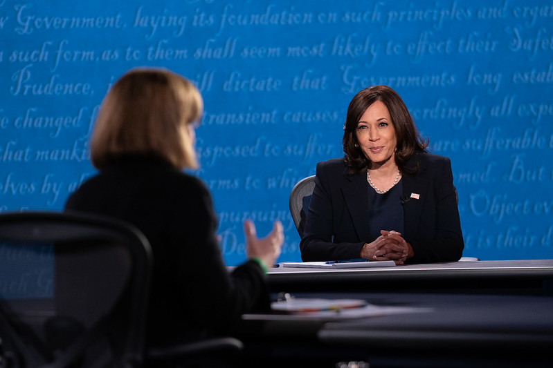 Kamala Harris answering Susan Page. Page asks Senator Harris a question at the 2020 vice presidential debate. Harris and Pence answered their questions professionally and clearly, unlike Trump and Biden at the presidential debate.