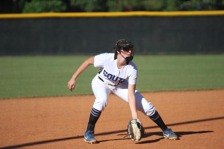 Senior War Eagle on the field. Makenna Segal is ready to jump into action as the Gainesville batter approaches the plate, her eye on the ball. Makenna Segal joined the varsity softabll team her freshman year, and has continued to play in and outside of school with plans to play in college.