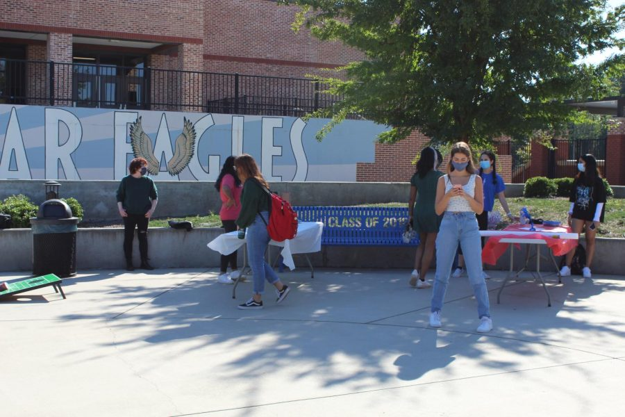 Students at the French club's renaissance fair. The fair took place in South's plaza on October 6th. It was their first event of the year.