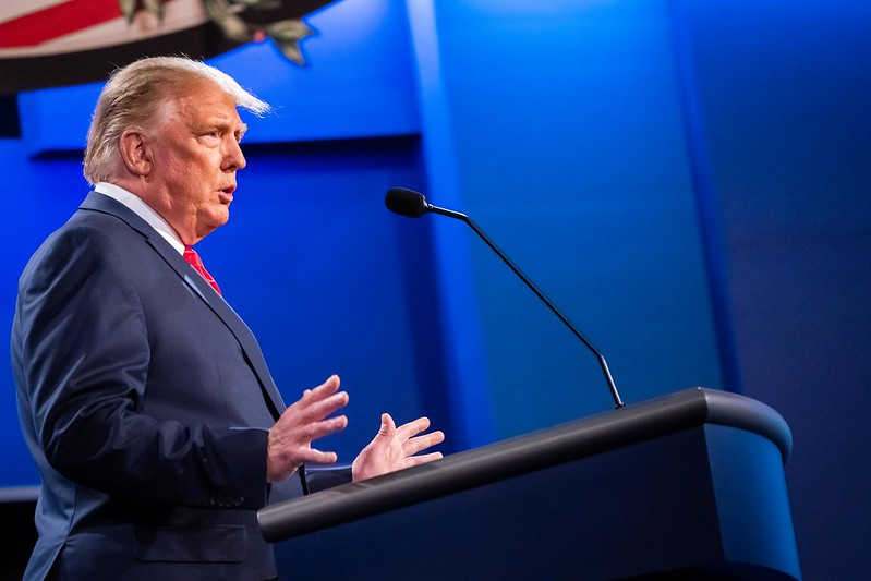 Trump on the debate stage. Trump debates former Vice President Joe Biden at Belmont University. The media illustrated the debate as more successful than the first debate.