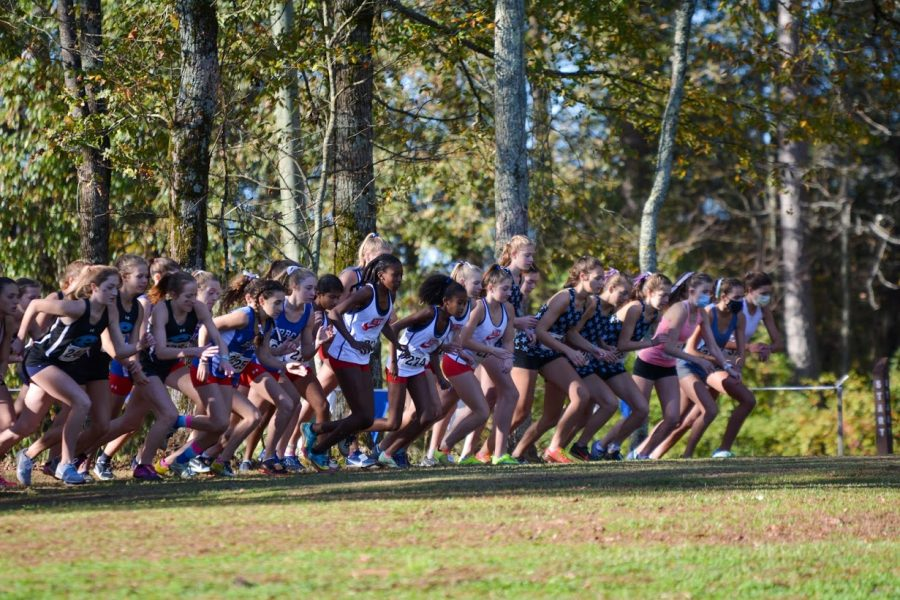 Varsity girls at start line. Carmel Yonas(sophomore), Isabel Yonas(freshmen) Emma O'Connor(senior), Madi Butler(senior), Molly Hanlon(freshmen), Janisha Patil(sophomore), and Siena Brennan(sophomore) are preparing to begin their race. The girls stretched, and did strides before they jogged to the start.