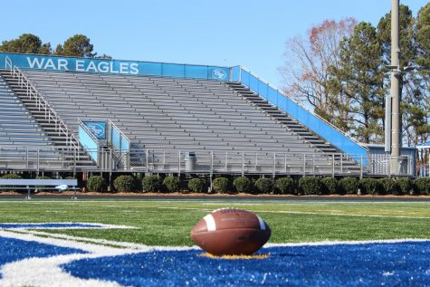 The empty South Forsyth High School football field and stadium. The cancellation of the big game was a sad day for many senior football players, cheerleaders, and their families. The sight of the empty stadium helped many students realize that the pandemic isn