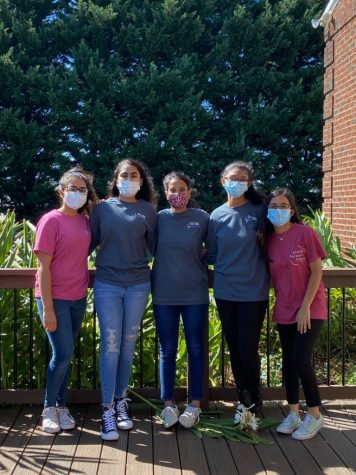 (Pictured above from left to right: Siya Kumar, Krithika Kasireddy, Rasagna Vuppala, Swetha Pendela, and Shree Delwadia). Serving the community. Juniors at South Forsyth High School aid individuals in their school and community through aspects of healthcare. They started their service projects in early August of last year.