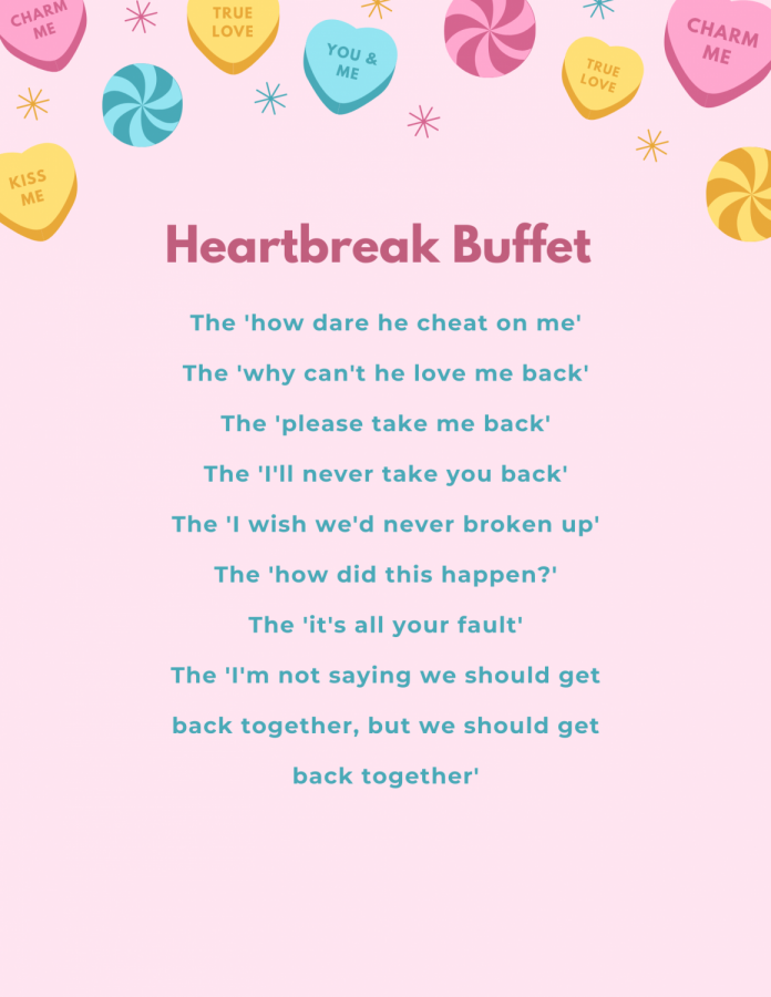 Heartbreak buffet. It seems like break up songs have so much variety, there's one for every nuance of emotion during a break-up. These songs can often end up glorifying love and unhealthy relationships.