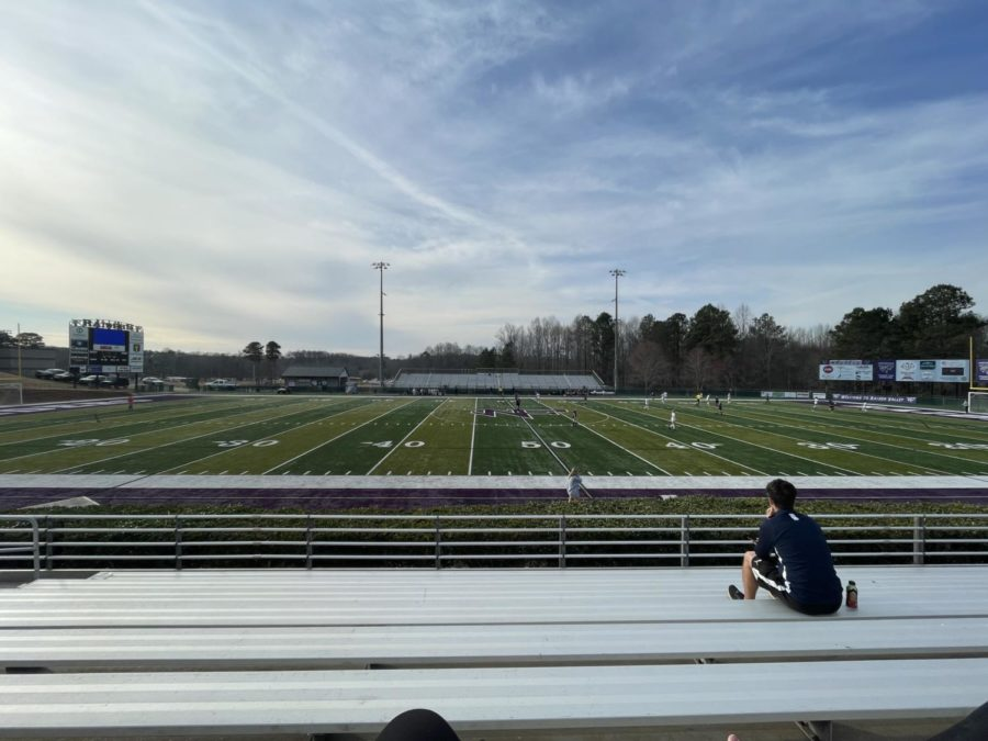 The North Forsyth soccer field. The War Eagles pressure the North defense in front of the North goal box. South maintained high pressure throughout the game, allowing them to steal balls from North and create scoring opportunities.