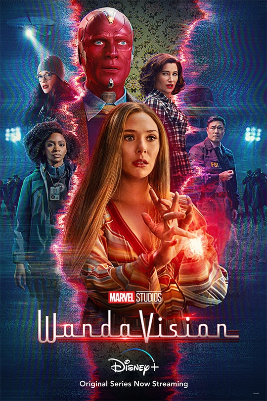 WandaVision is now streaming on Disney+. The poster above displays key characters from the show. Darcy Lewis(Top left), Monica Rambeau(bottom left), Vision(Top center), Wanda Maximoff(bottom center), Agatha Harkness(Top right), and Jimmy Choo(far right). The last episode came out March 5th.