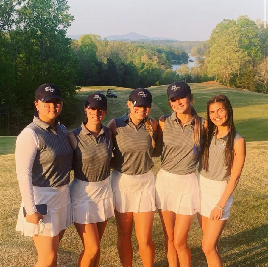 An unforgettable season. (Pictured from right to left) Hailey Yeon, Kennedy Arnette, Elise Forberg, Emma Reid, and Abigail Dotson are esctatic as they prepare for the upcoming state tournament in May. They have truly advanced their skills throughout the season and cannot wait to work towards a state championship title.
