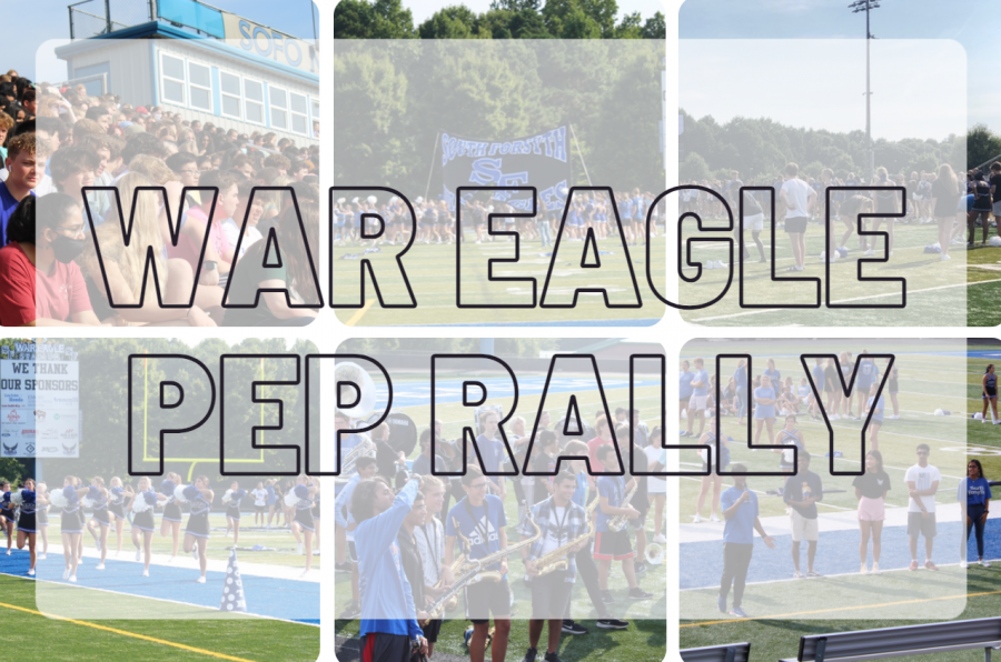 Welcoming the War Eagle nation. South Forsyth introduces the spirit at SFHS through a school-wide pep rally. Students were excited to meet the rest of their peers and participate in a variety of activities.